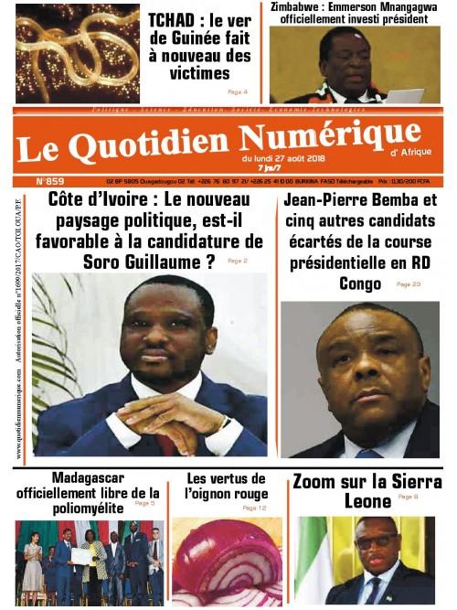 QUOTIDIEN NUMERIQUE D AFRIQUE  27/08/2018
