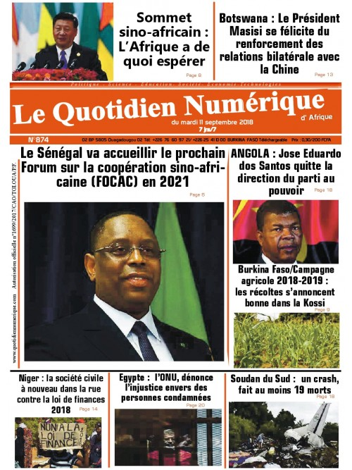 QUOTIDIEN NUMERIQUE D AFRIQUE  11/09/2018
