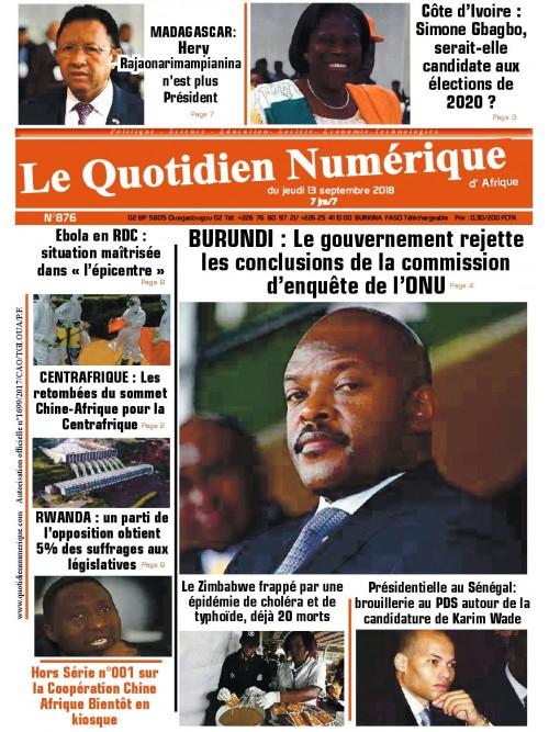QUOTIDIEN NUMERIQUE D AFRIQUE  13/09/2018