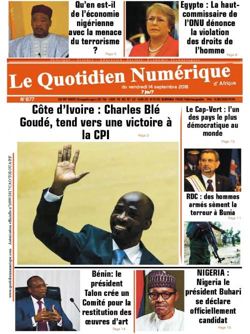 QUOTIDIEN NUMERIQUE D AFRIQUE  14/09/2018