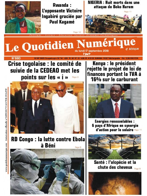 QUOTIDIEN NUMERIQUE D AFRIQUE  17/09/2018