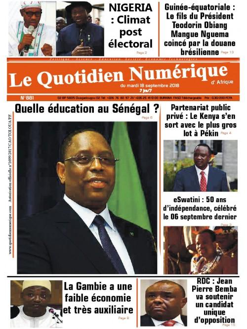QUOTIDIEN NUMERIQUE D AFRIQUE  18/09/2018
