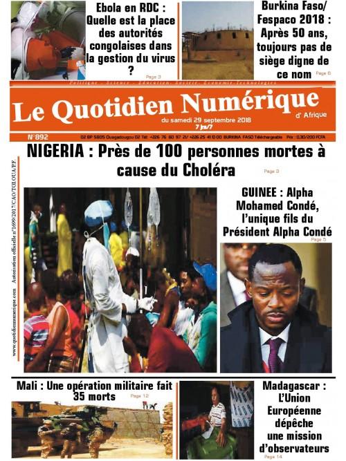 QUOTIDIEN NUMERIQUE D AFRIQUE  29/09/2018