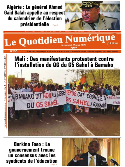 QUOTIDIEN NUMERIQUE D AFRIQUE  25/05/2019