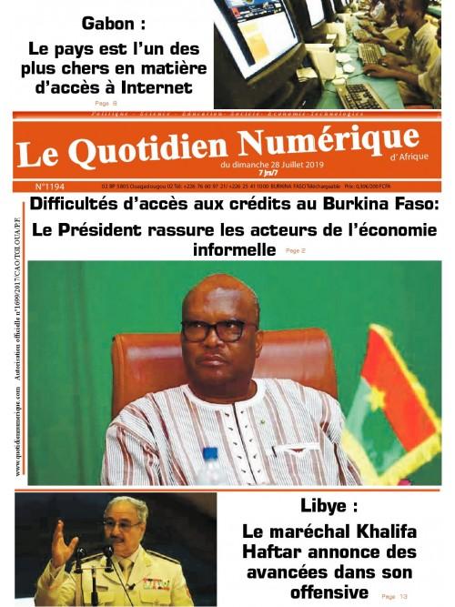 QUOTIDIEN NUMERIQUE D AFRIQUE  28/07/2019