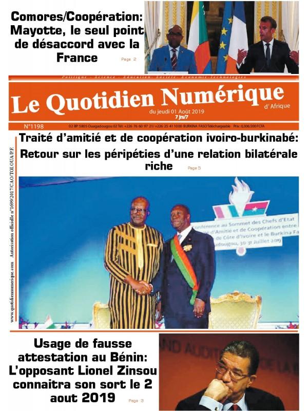 QUOTIDIEN NUMERIQUE D AFRIQUE  01/08/2019