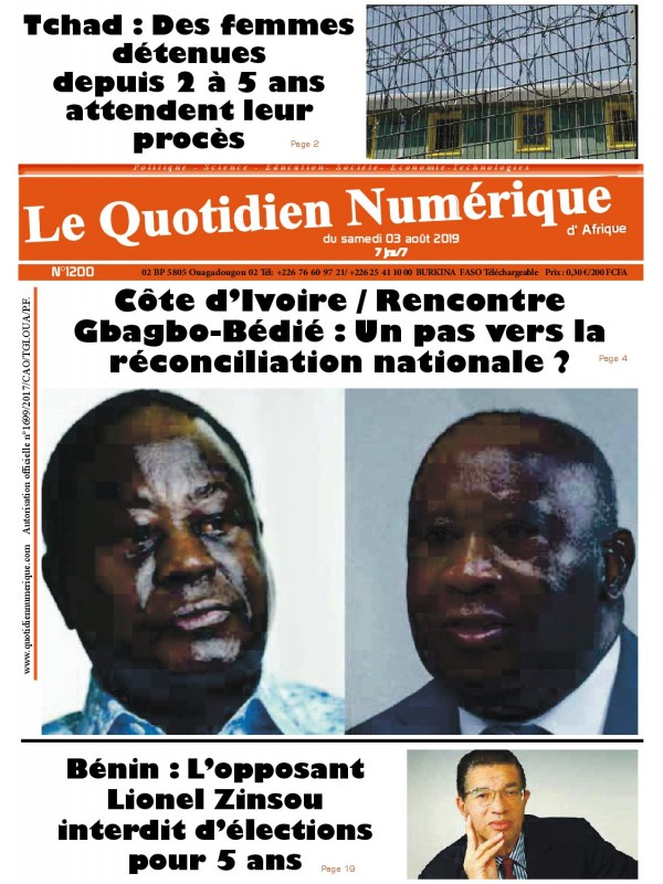 QUOTIDIEN NUMERIQUE D AFRIQUE  03/08/2019