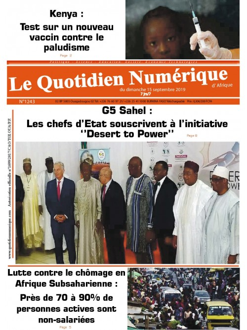 QUOTIDIEN NUMERIQUE D AFRIQUE  15/09/2019