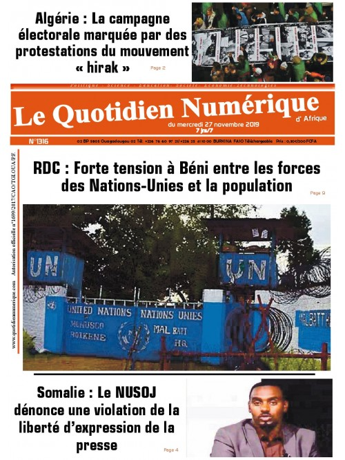 QUOTIDIEN NUMERIQUE D AFRIQUE  27/11/2019