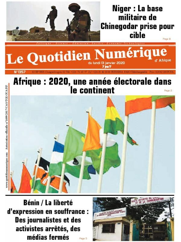 QUOTIDIEN NUMERIQUE D AFRIQUE  13/01/2020