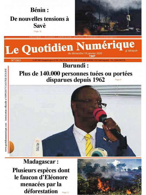 QUOTIDIEN NUMERIQUE D AFRIQUE  19/01/2020