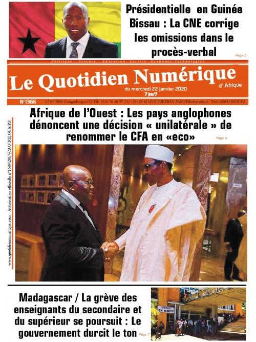 QUOTIDIEN NUMERIQUE D AFRIQUE  22/01/2020
