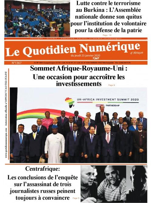 QUOTIDIEN NUMERIQUE D AFRIQUE  23/01/2020