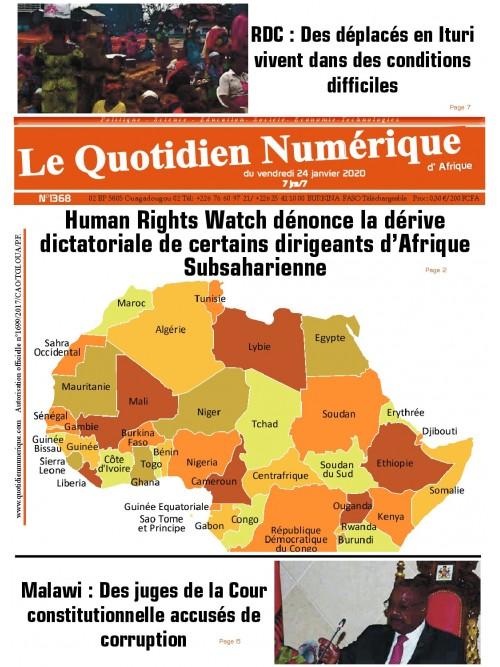 QUOTIDIEN NUMERIQUE D AFRIQUE  24/01/2020