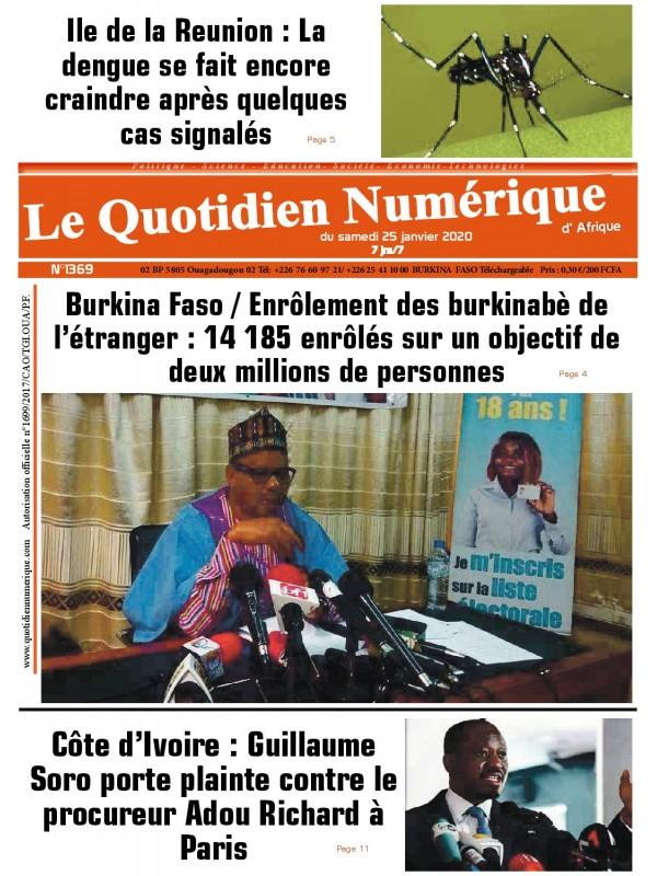QUOTIDIEN NUMERIQUE D AFRIQUE  25/01/2020