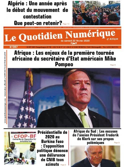 QUOTIDIEN NUMERIQUE D AFRIQUE  22/02/2020