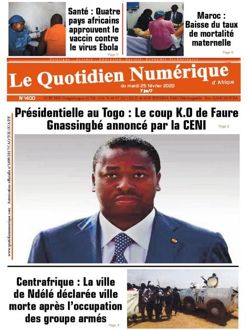 QUOTIDIEN NUMERIQUE D AFRIQUE  25/02/2020