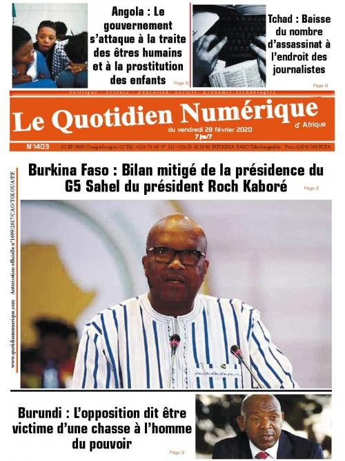 QUOTIDIEN NUMERIQUE D AFRIQUE  28/02/2020