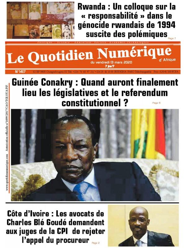 QUOTIDIEN NUMERIQUE D AFRIQUE  13/03/2020