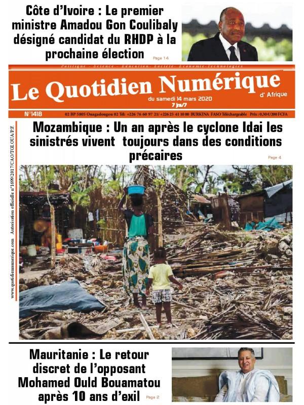 QUOTIDIEN NUMERIQUE D AFRIQUE  14/03/2020