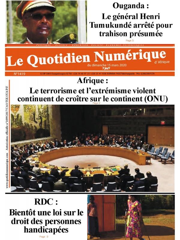 QUOTIDIEN NUMERIQUE D AFRIQUE  15/03/2020
