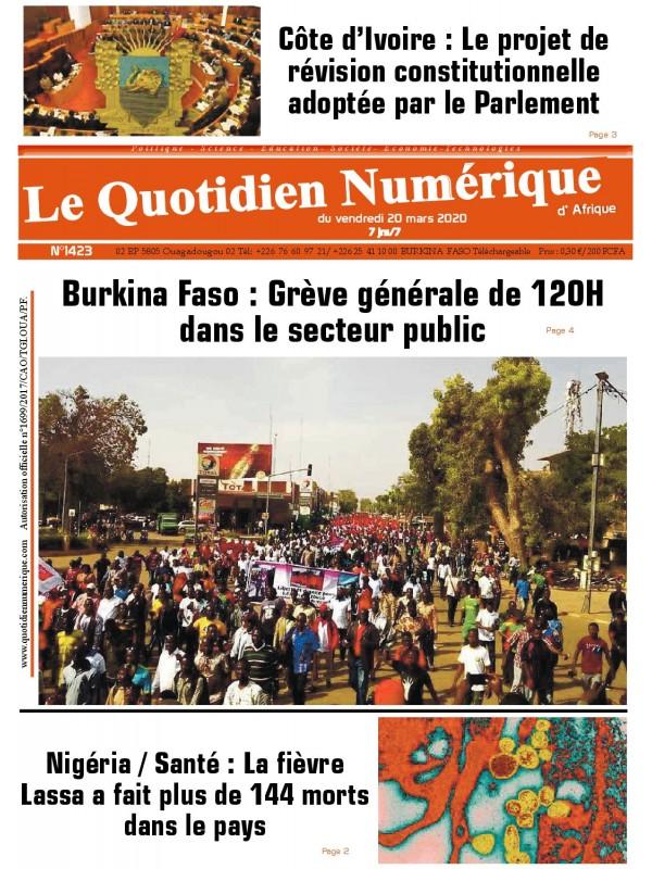QUOTIDIEN NUMERIQUE D AFRIQUE  20/03/2020